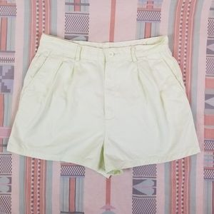 Vtg 90s Pale Green Pleated Shorts